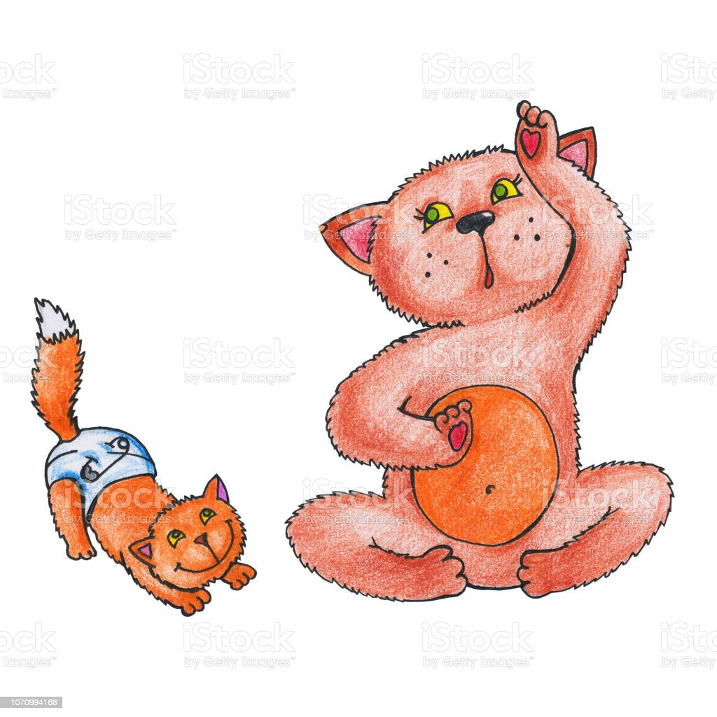 Illustration with a cat and a kitten, and a red-haired family cat