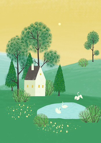 Illustration with alone house in the hills Minimalistic Scandinavian style.