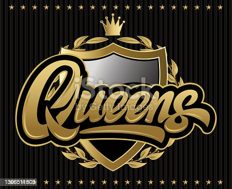 istock illustration with calligraphic inscription Qweens, heraldic shield and crown 1306511803