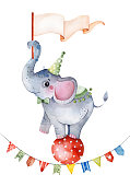 Illustration with cute little elephant on the ball,flag and multicolored garlands