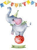 Illustration with cute little elephant on the ball,ribbon and multicolored garlands