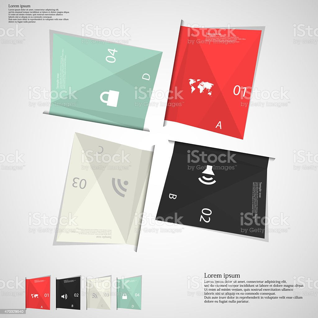 Illustration infographic which contains four folded paper sheets....