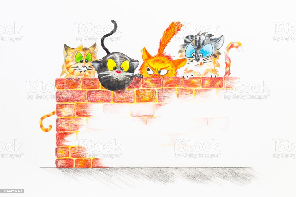 Illustration with group of cute cats hiding behind a brick wall vector art illustration