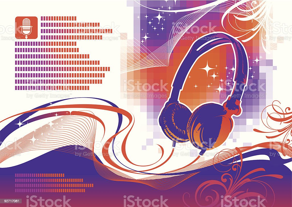 Illustration with headphones royalty-free stock vector art