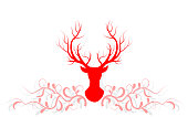 Illustration with silhouette of a red reindeer and tree brach and leaves isolated on white background. Vector design with Christmas deer. in new year and christmas day.