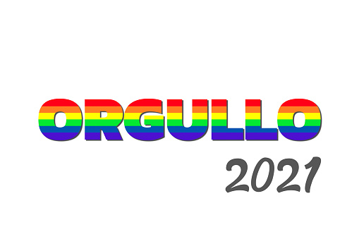 illustration with the colors of the lgbt homosexual flag with the word pride in Spanish in the concept of gay pride month 2021