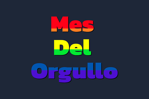 illustration with the colors of the lgbt homosexual flag with the phrase in spanish pride month in gay pride concept