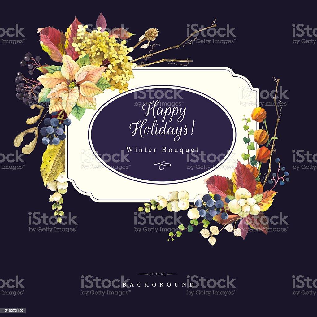 Ilustración con flores acuarela. Felices fiestas. - ilustración de arte vectorial