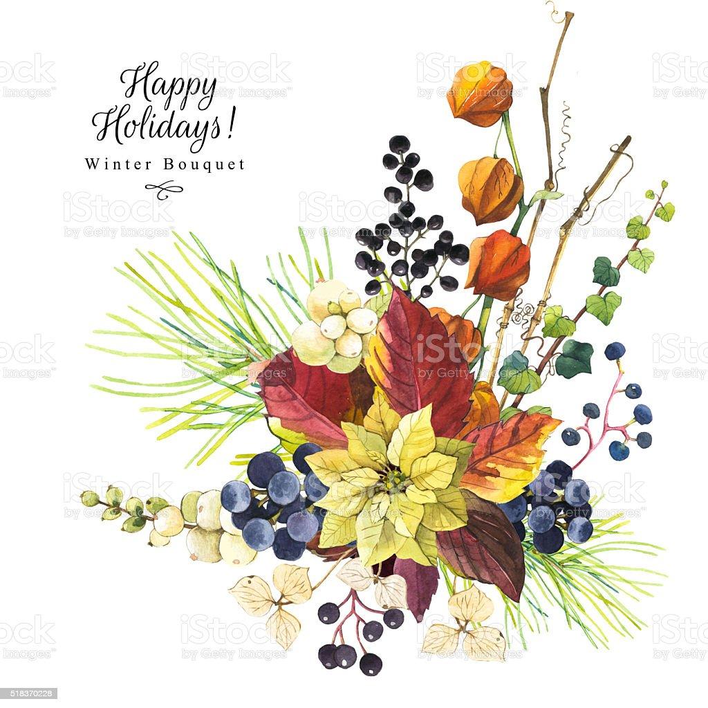 Ilustración con flores acuarela. Ramo de flores de invierno. - ilustración de arte vectorial