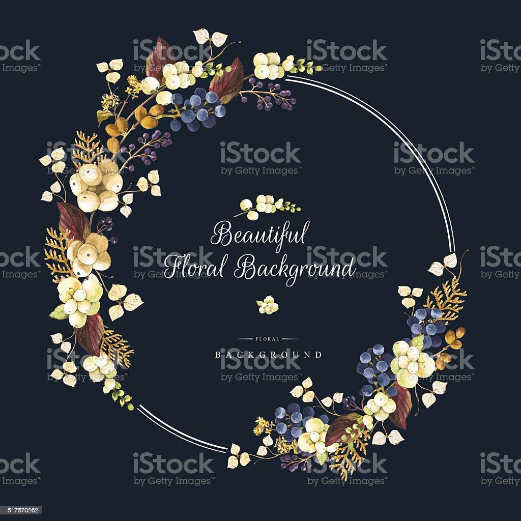 Illustrazione ad acquerello inverno con frutti di bosco e piante. Bellissimo bouquet. - illustrazione arte vettoriale