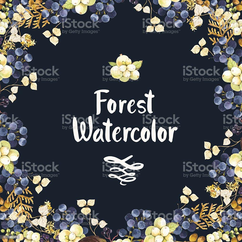Illustrazione ad acquerello inverno con frutti di bosco e piante. - illustrazione arte vettoriale