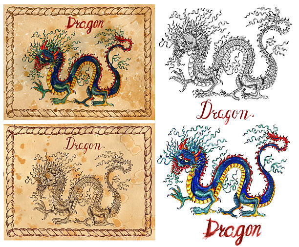 chinese new year vector art illustration illustration with zodiac animal symbol dragon vector art illustration