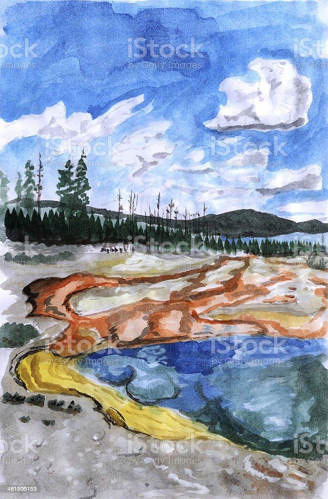 Illustration Yellowstone vector art illustration