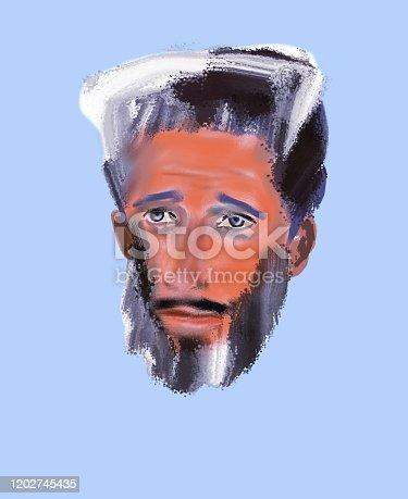 Illustration-portrait of the devil is sentimental on a light blue background