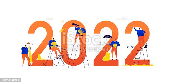 istock Illustrations of the new 2022. Meeting the new year. Business people achieve their goals and make a career. Search for ideas. Solving tasks and problems. Business metaphors. Businessmen in different situations. 1320813837