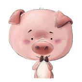 ilustracion cerdo feliz