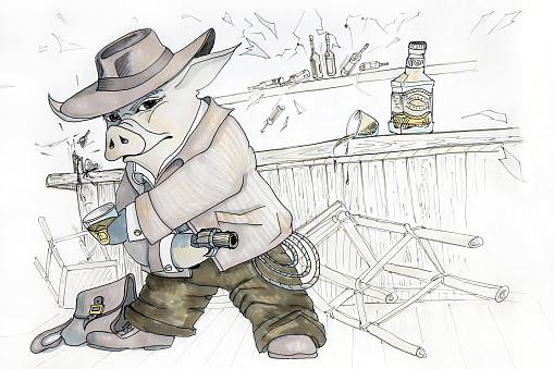 Image drawing of a cowboy pig.