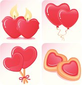 Collection of four vector illustration for Valentine's day