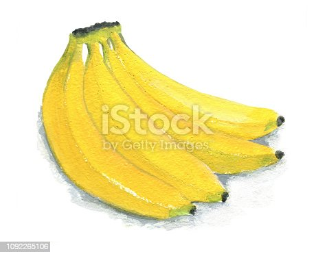 Image of a bunch of bananas. Figure gouache, isolated on white background