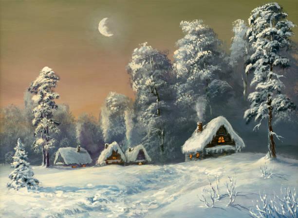 stockillustraties, clipart, cartoons en iconen met image of a village covered in snow - christmas cabin