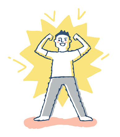 Image of cheerful man doing guts pose