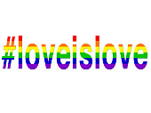 Image of LGBT love is love hashtag / rainbow wallpaper background illustration positive, celebratory, concept art for lesbian, gay, bisexual, transgender romance, #loveislove hashtag over LGBTQI rainbow flag for same sex couples, homosexual relationships