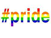Image of LGBT pride hashtag / rainbow wallpaper background illustration positive, celebratory concept art for lesbian, gay, bisexual, transgender romance, #pride hashtag over LGBTQI rainbow flag for same sex couples and homosexual relationships