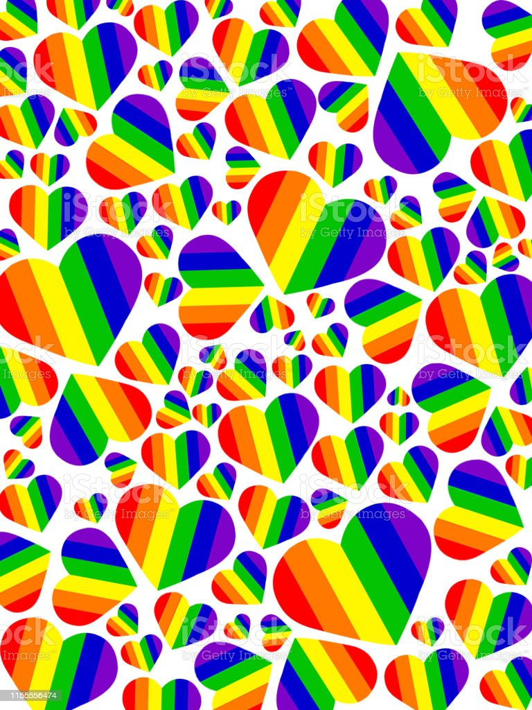 Image Of Lgbt Rainbow Love Hearts Gay Wallpaper Background