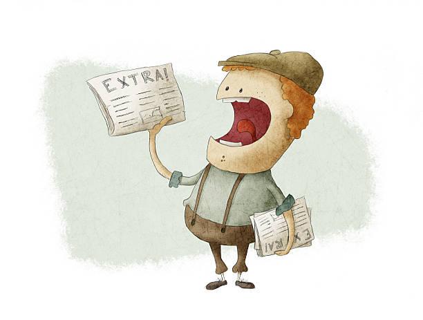 Image of retro newsboy selling newspaper vector art illustration