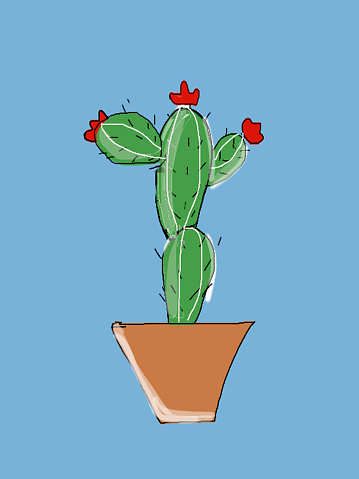 Image Of Simple Cartoon Cactus Drawing Of Cacti House ...