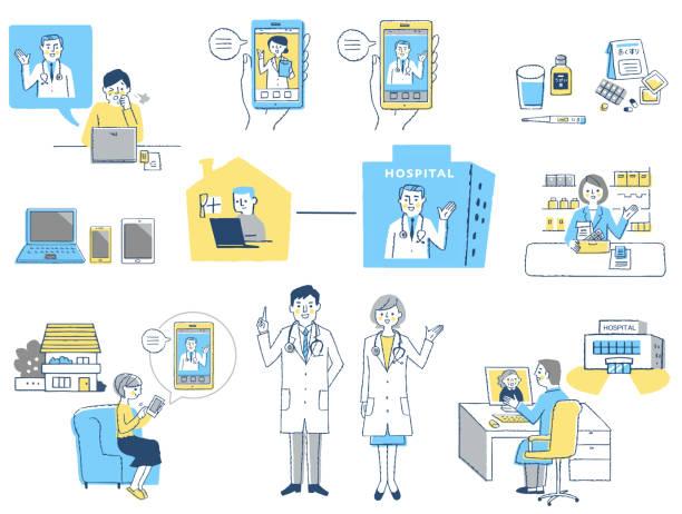 各種オンライン医療のイメージセット - テレビ会議 日本人点のイラスト素材/クリップアート素材/マンガ素材/アイコン素材