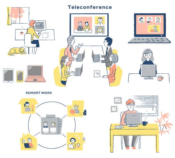 各種オンライン作品の画像セット - テレビ会議 日本人点のイラスト素材/クリップアート素材/マンガ素材/アイコン素材