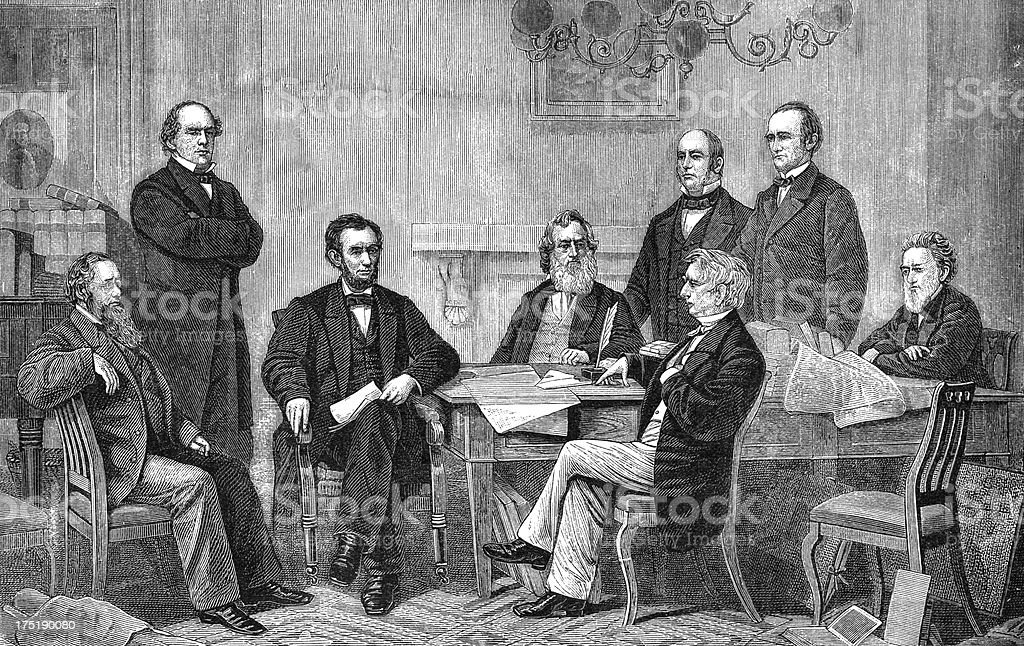 Image showing the men signing the emancipation proclamation vector art illustration