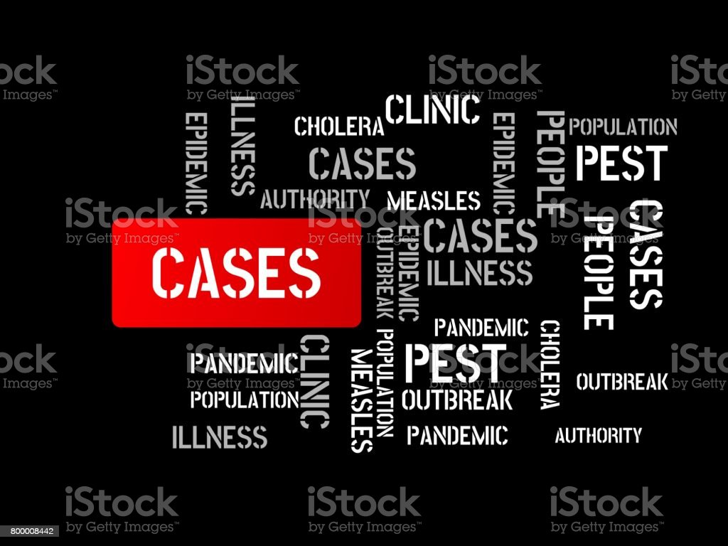 CASES - image with words associated with the topic EPIDEMIC, word cloud, cube, letter, image, illustration vector art illustration
