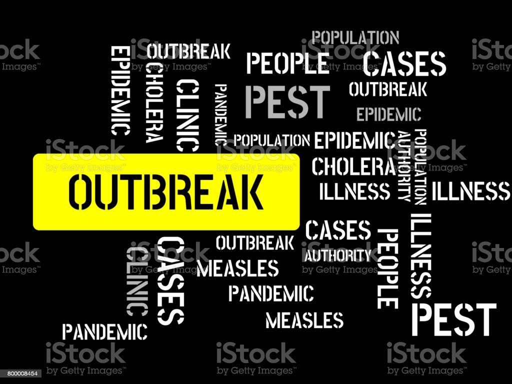 OUTBREAK - image with words associated with the topic EPIDEMIC, word cloud, cube, letter, image, illustration vector art illustration