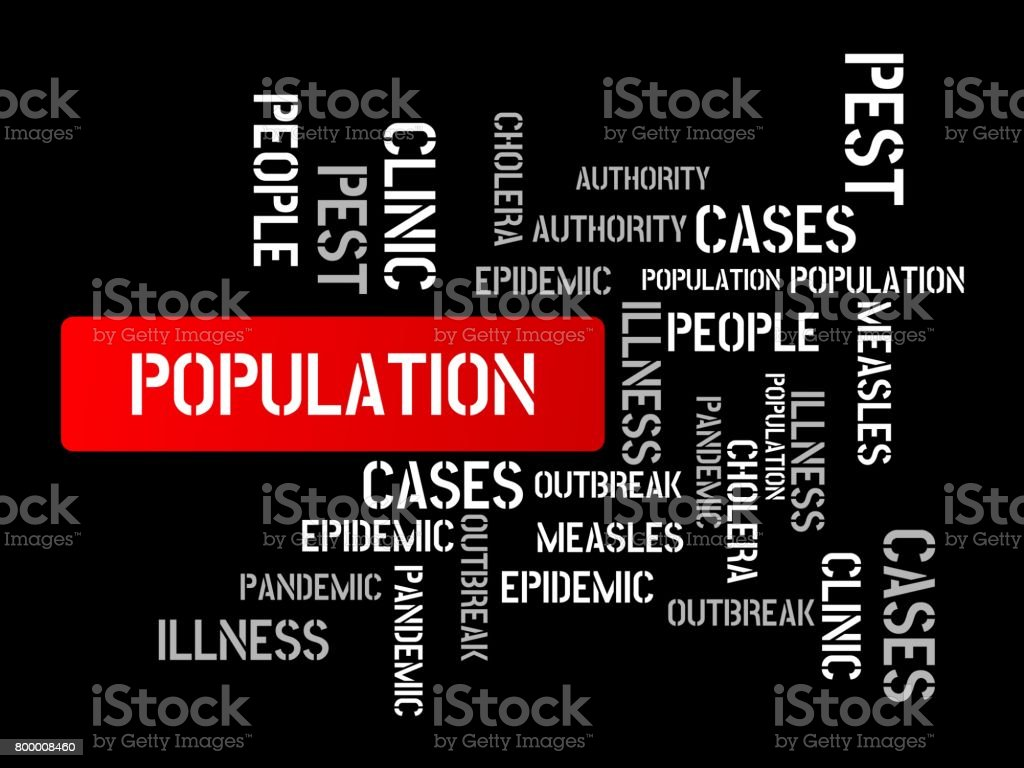POPULATION - image with words associated with the topic EPIDEMIC, word cloud, cube, letter, image, illustration vector art illustration