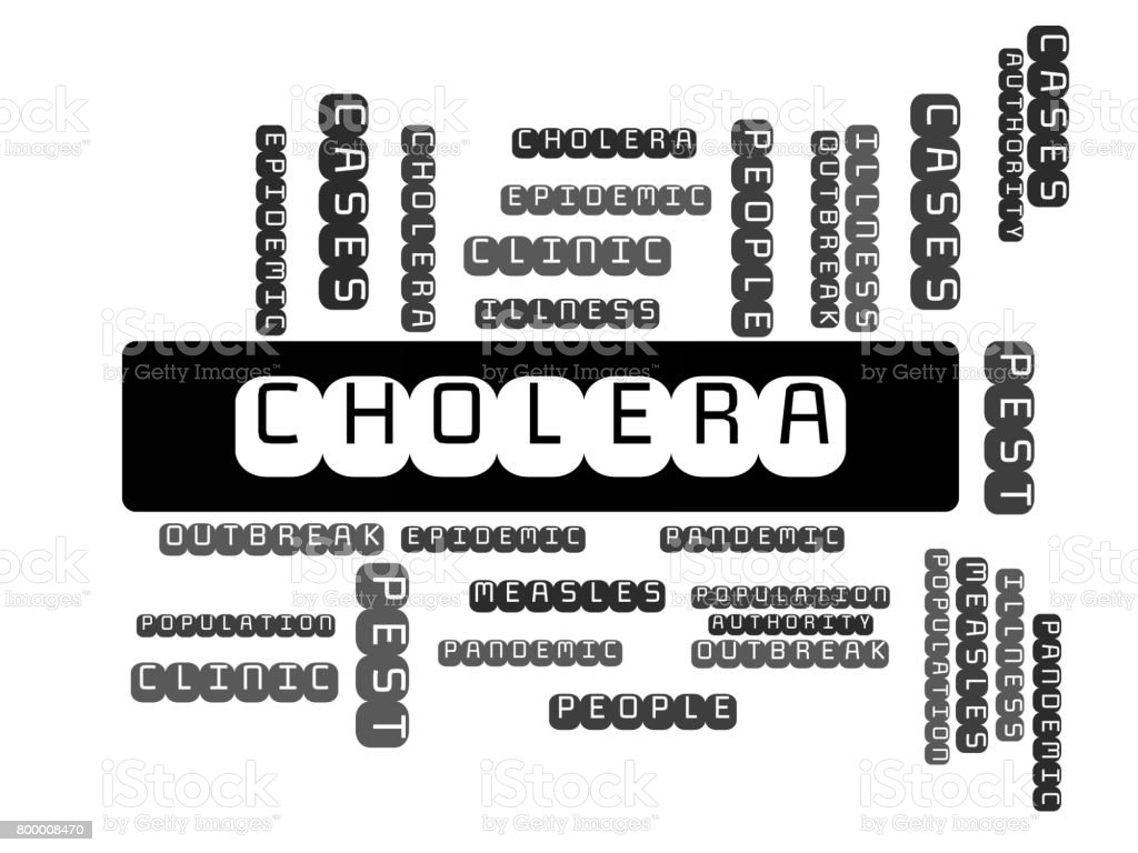 CHOLERA - image with words associated with the topic EPIDEMIC, word cloud, cube, letter, image, illustration vector art illustration