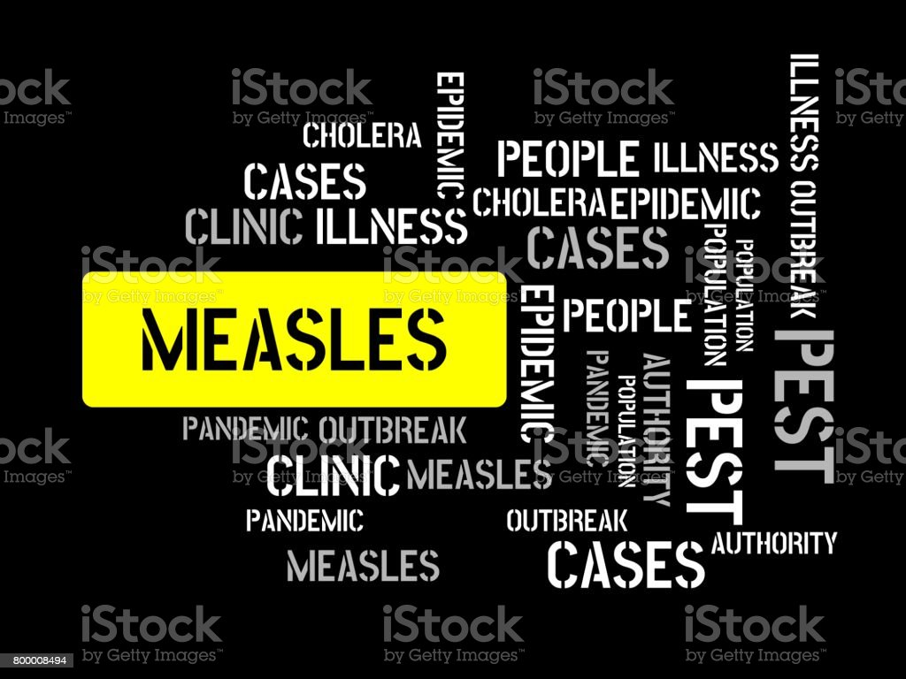 MEASLES - image with words associated with the topic EPIDEMIC, word cloud, cube, letter, image, illustration vector art illustration