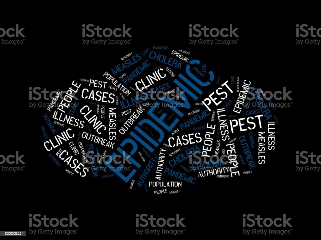 EPIDEMIC - image with words associated with the topic EPIDEMIC, word cloud, cube, letter, image, illustration vector art illustration