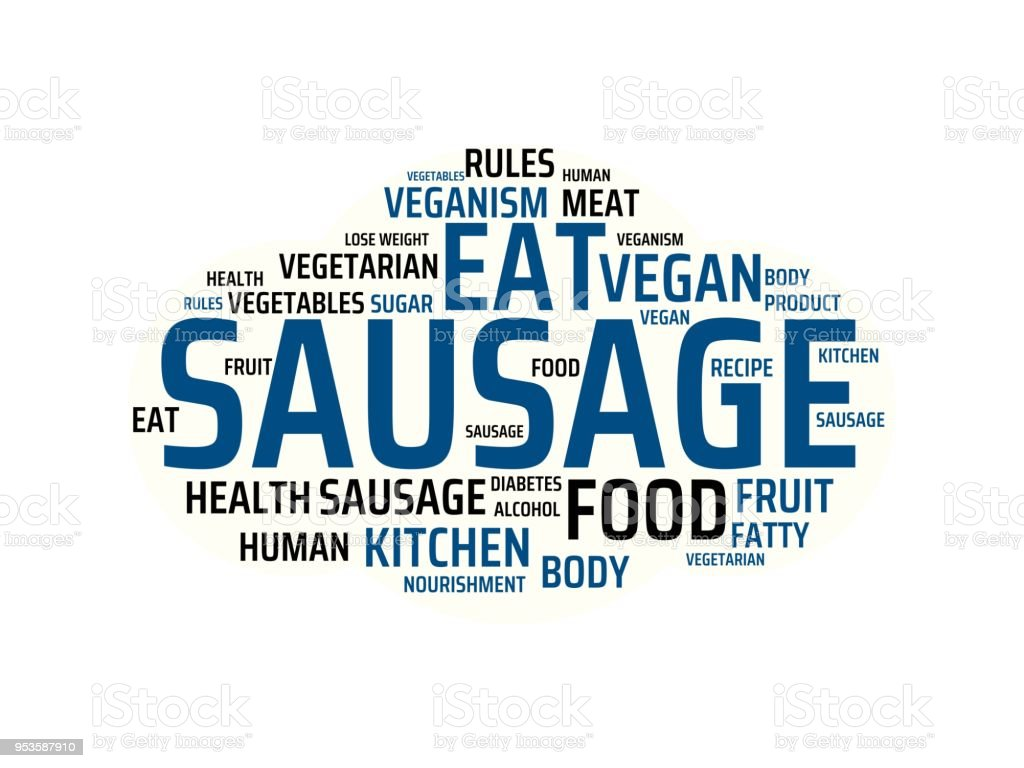 sausage image with words associated with the topic nutrition word