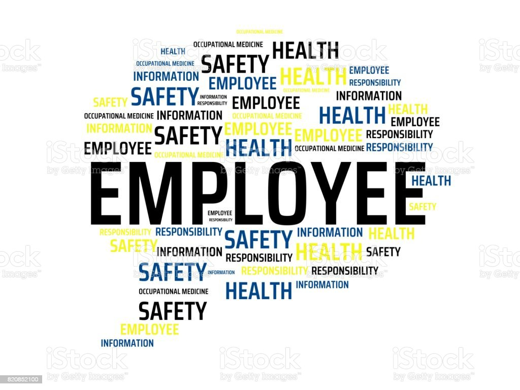 Employee Image With Words Associated With The Topic Work Safety Word Image  Illustration Stock Illustration - Download Image Now