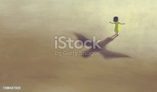 istock imagination artwork ,Girl with flying bird shadow , painting art, conceptual illustration,  freedom  ambition life and hope concept,  surreal child dream 1288437323