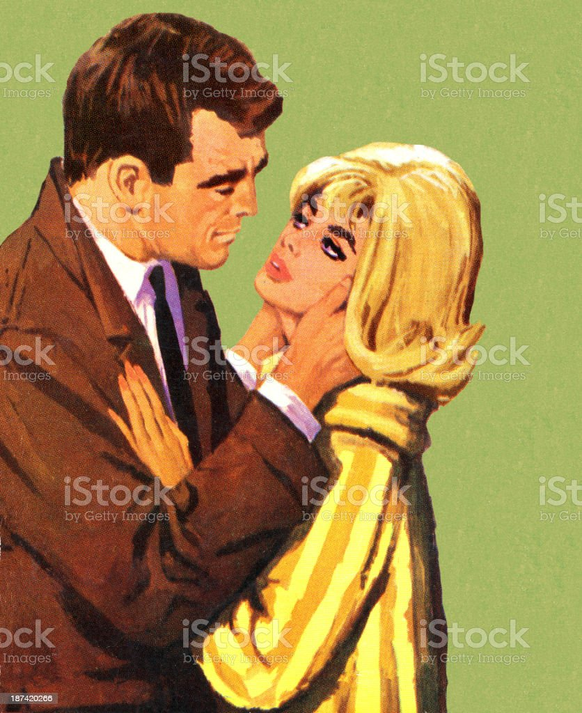 Homme embrassant femme Blonde - Illustration vectorielle