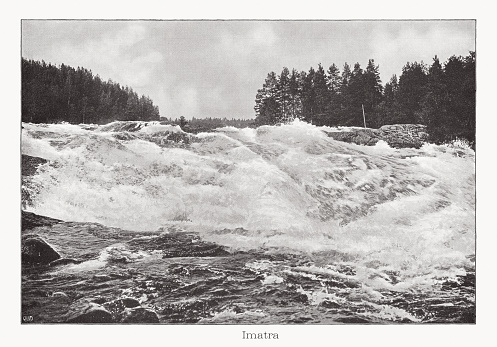 Historical view of the Imatra fall - the Vuoksi river near Imatra in Finland. Since 1929 the falls have been used to generate electricity and the water diverted. The locks are only opened at certain times and the old river bed is flooded. Raster halftone print after a photograph, published in 1899.