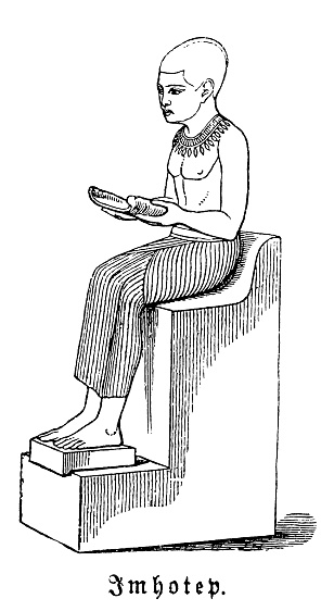 Imhotep was an Egyptian chancellor to the pharaoh Djoser, probable architect of the step pyramid, and high priest of the sun god Ra at Heliopolis