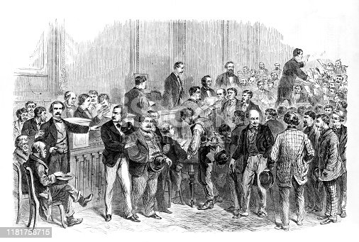Vintage illustration features the naturalization of foreigners in New York City in 1869. A judge in the Superior Court is shown passing out applications for citizenship.