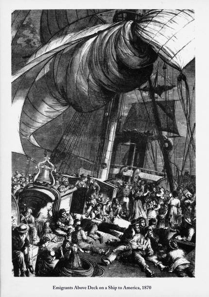 immigrants above deck on a ship to america, 1870 engraving - dutch traditional clothing stock illustrations, clip art, cartoons, & icons