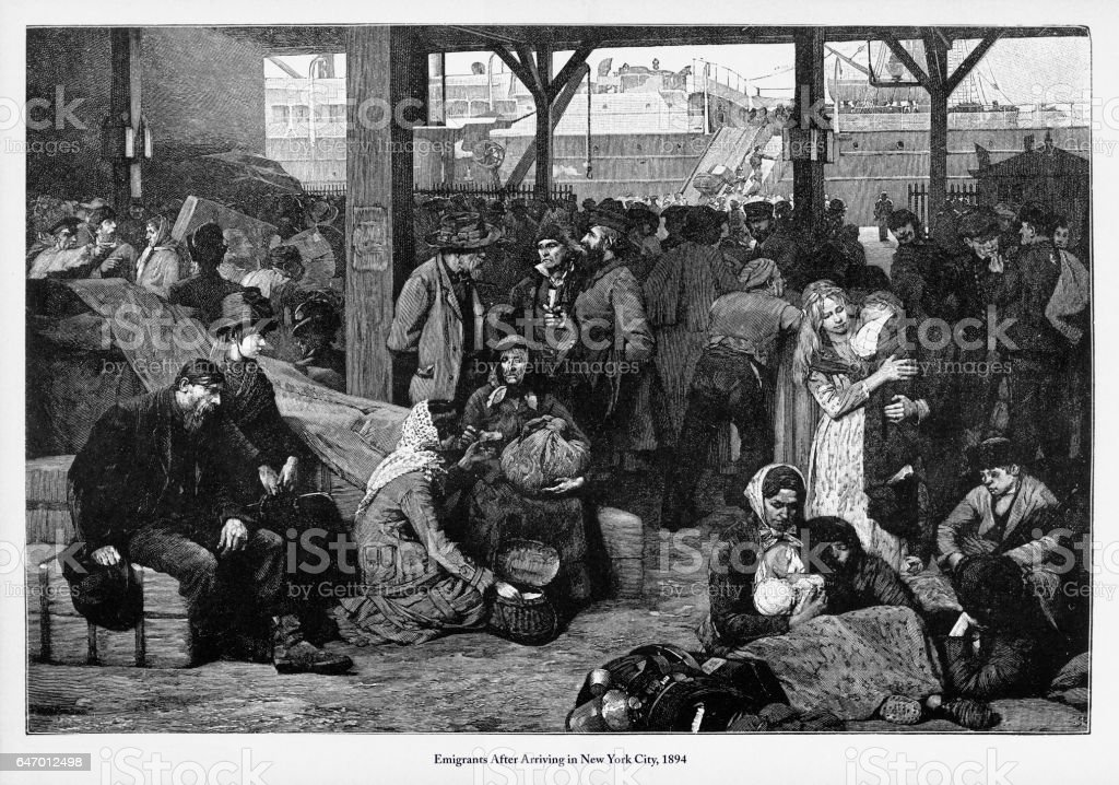 Immigrants After Arriving in New York City, 1894 Engraving vector art illustration