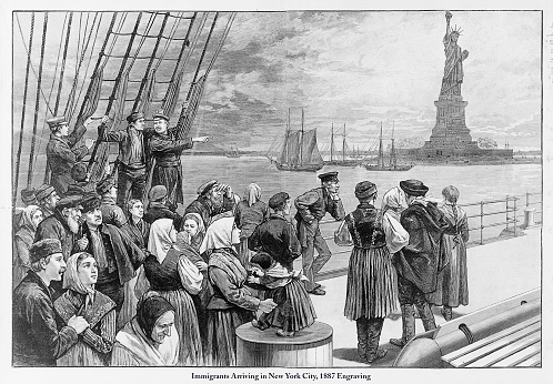 Beautifully Illustrated Antique Engraved Victorian Illustration of Immigrants Arriving in New York City and seeing the Statue of Liberty, 1887. Source: Original edition from my own archives. Copyright has expired on this artwork. Digitally restored..