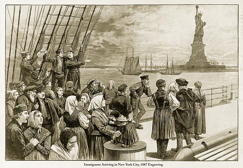 Beautifully Illustrated Antique Engraved Victorian Illustration of Immigrants Arriving in New York City, 1887 Engraving. Source: Original edition from my own archives. Copyright has expired on this artwork. Digitally restored.